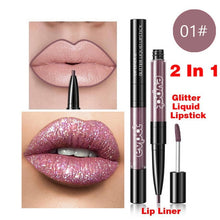 Load image into Gallery viewer, Evpct Diamond Glitter Double-headed Lip Gloss Lip Liner 7Color Flash Matt Liquid Lipgloss Waterproof Long-lasting Lipstick TSLM1 - My Little Decors.com
