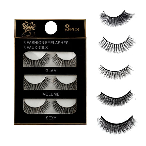 3 Pairs Natural False Eyelashes Beauty Make up Thick Cross Voluminous Messy Style Eye Lashes Extension Women Fashion Makeup Tool - My Little Decors.com