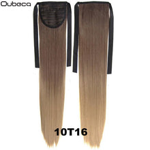 Load image into Gallery viewer, Oubeca 22 Inches Synthetic Ombre Ponytail Straight Long Two Tone Ribbon Pony Tail Hair Piece Clip In Hair Extensions For Women - My Little Decors.com