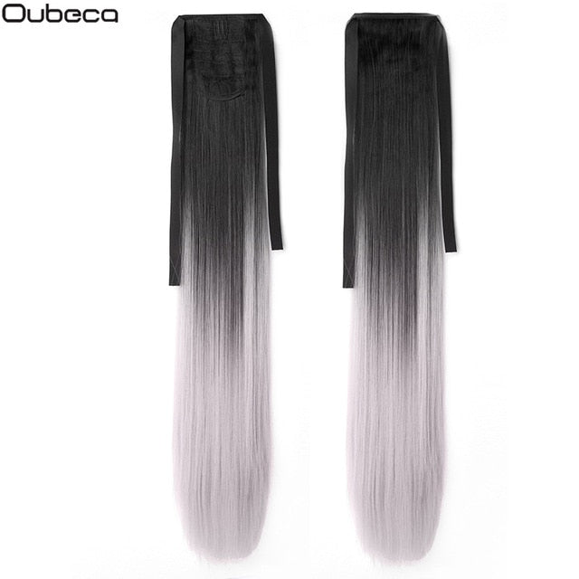 Oubeca 22 Inches Synthetic Ombre Ponytail Straight Long Two Tone Ribbon Pony Tail Hair Piece Clip In Hair Extensions For Women - My Little Decors.com