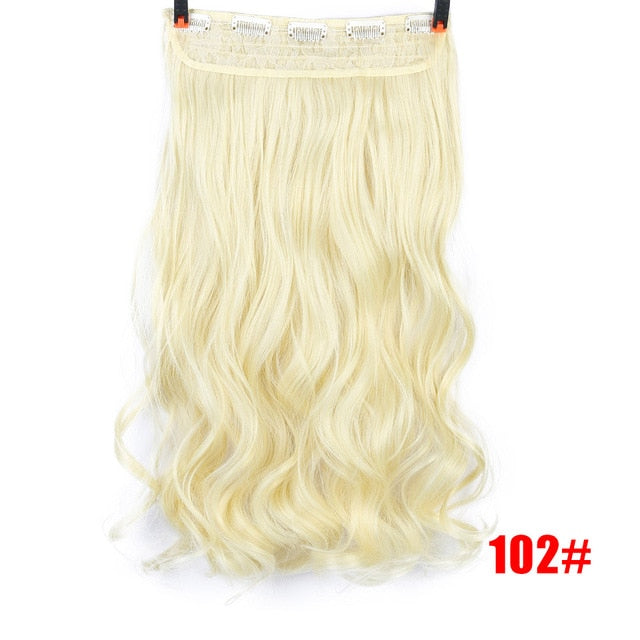DIFEI Long Wavy Hair Extension 5 Clip High Temperature Synthesis Invisible Seamless Wigs for Women Hair Extension - My Little Decors.com