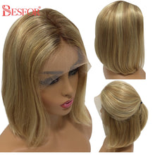 Load image into Gallery viewer, Short 13x1x4 Lace Ombre Blonde Human Hair Wigs Thick 180% Density Highlight Brown T Lace Part Bob Wig PrePlucked For Black Women - My Little Decors.com