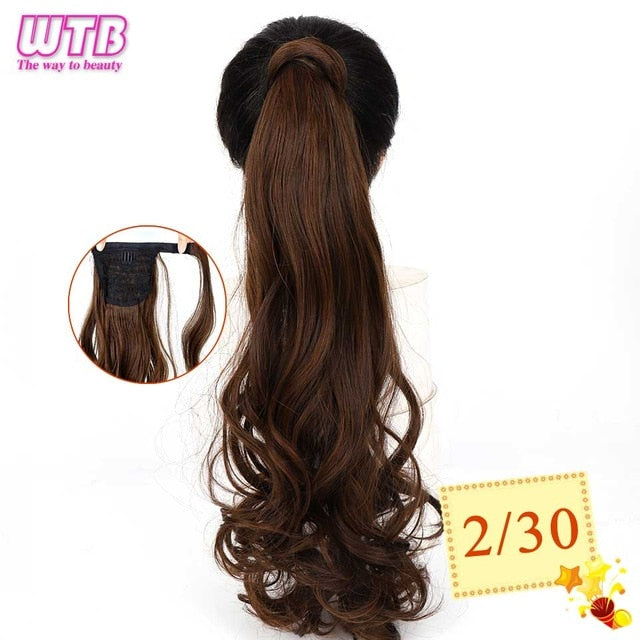 WTB 50cm Corn Curly Long Ponytail Synthetic Hairpiece Wrap Around on Clip Hair Extensions for Women Hair - My Little Decors.com