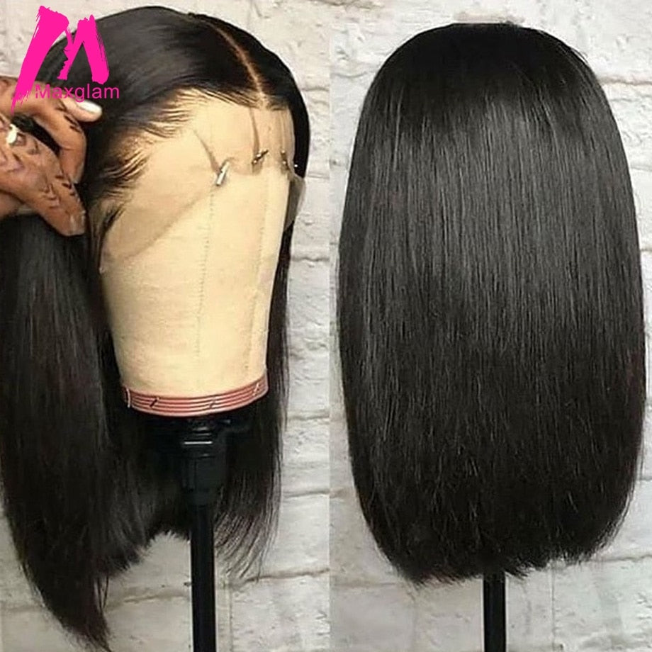 Lace Front Human Hair Bob Wigs Brazilian Short Straight Closure Wig Natural Pre Plucked Glueless Remy Hair for Black Women long - My Little Decors.com