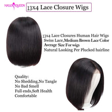 Load image into Gallery viewer, HALOQUEEN Straight Short Bob Human Hair Wigs 13x4 Remy Hair 130% Density Straight Lace Wigs Brazilian Lace Front Human Hair Wigs - My Little Decors.com