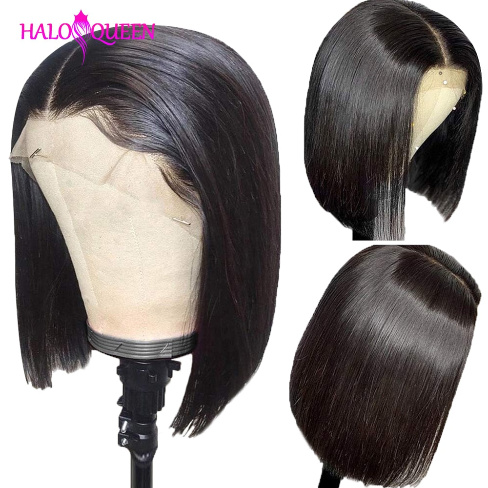 HALOQUEEN Straight Short Bob Human Hair Wigs 13x4 Remy Hair 130% Density Straight Lace Wigs Brazilian Lace Front Human Hair Wigs - My Little Decors.com