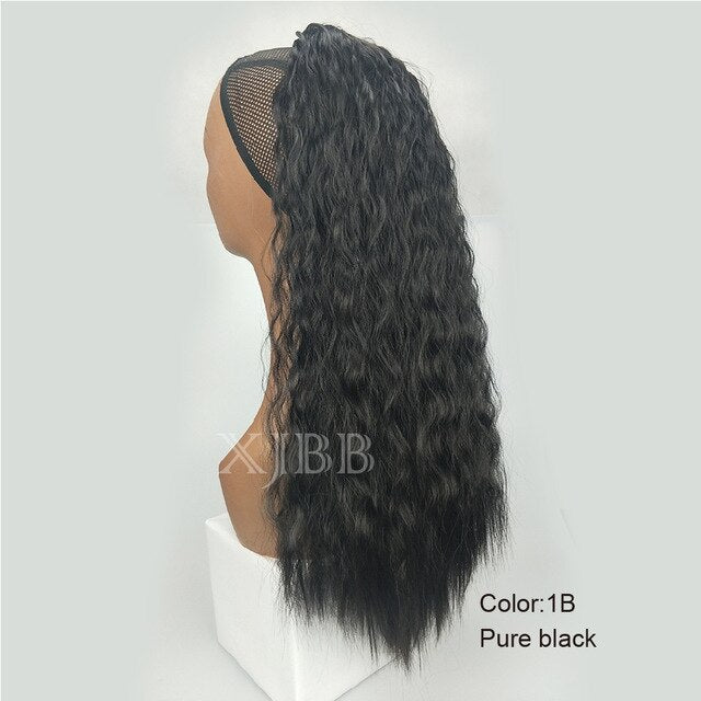 Afro Puff Long Kinky Curly Drawstring Ponytail for Women 22 inch Clip in Wavy Natural Pony Tail Hair Extensions - My Little Decors.com