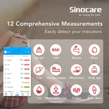 Load image into Gallery viewer, Sinocare Smart Body Fat Composition Scale Bathroom Scale Test 12 Body Date Mass BMI Health Weight Scale LED Display Bluetooth - My Little Decors.com