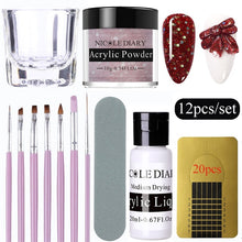 Load image into Gallery viewer, 12Pcs/set Acrylic Powder Clear Extension Builder Crystal Nail Glitter Chrome 3D Nail Tips Carving Art Tools - My Little Decors.com
