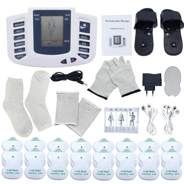 EMS Body Electrical Muscle Stimulator Tens Acupuncture Slimming Massager 16 Pads Digital Therapy for Back Neck Foot Health Care - My Little Decors.com