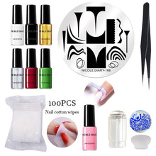 Load image into Gallery viewer, NICOLE DAIRY Black White Nail Stamping Polish varnish Gold Silver Nail Art Plate Stamp Oil Polish Stamping Series - My Little Decors.com