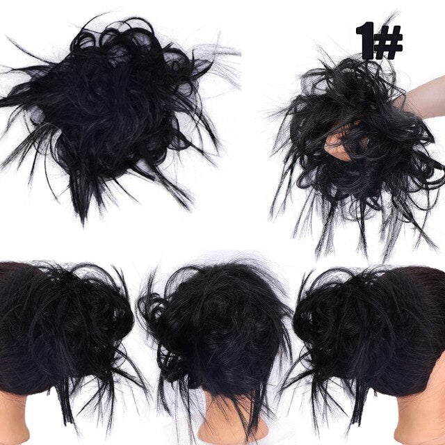 AOSI Messy Scrunchie Chignon Hair Bun Straight Elastic Band Updo Hairpiece Synthetic Hair Chignon Hair Extension For Women - My Little Decors.com