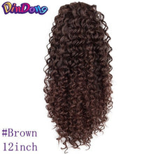 Load image into Gallery viewer, DinDong Kinky Curly Ponytail 12 '' Synthetic clip In Ponytail Hair Extension Black Brown Red color for Women - My Little Decors.com