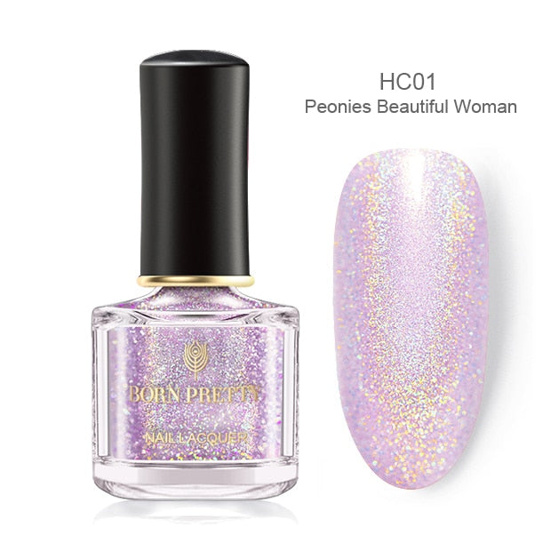 BORN PRETTY Nail Polish Pink Glittering Shimmer Laser Nail Art Varnish Color DIY Manicuring Design 6ml Nail Polish - My Little Decors.com