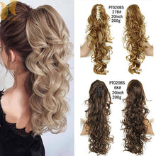 Load image into Gallery viewer, XINRAN Synthetic Fiber Claw Clip Wavy Ponytail Extensions Long Thick Wave Pony Tail Hair Piece Clip In Hair Extensions For Women - My Little Decors.com