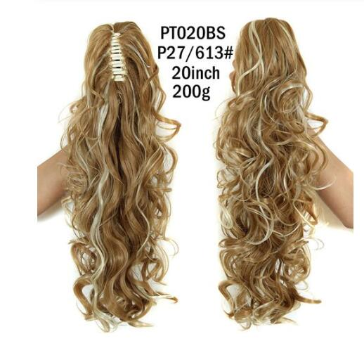 XINRAN Synthetic Fiber Claw Clip Wavy Ponytail Extensions Long Thick Wave Pony Tail Hair Piece Clip In Hair Extensions For Women - My Little Decors.com