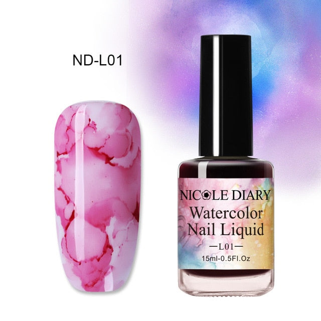 NICOLE DIARY 15ml 6ml Colorful Watercolor Nail Ink Nail Polish DIY Nail Art Purple Green For Nail Decoration - My Little Decors.com
