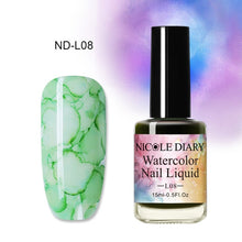 Load image into Gallery viewer, NICOLE DIARY 15ml 6ml Colorful Watercolor Nail Ink Nail Polish DIY Nail Art Purple Green For Nail Decoration - My Little Decors.com