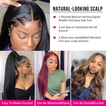 Load image into Gallery viewer, Melodie 28 30 Inch Straight Lace Front Wigs 180% Density Brazilian Human Hair For Black Women Pre Plucked 360 Lace Frontal Wig - My Little Decors.com