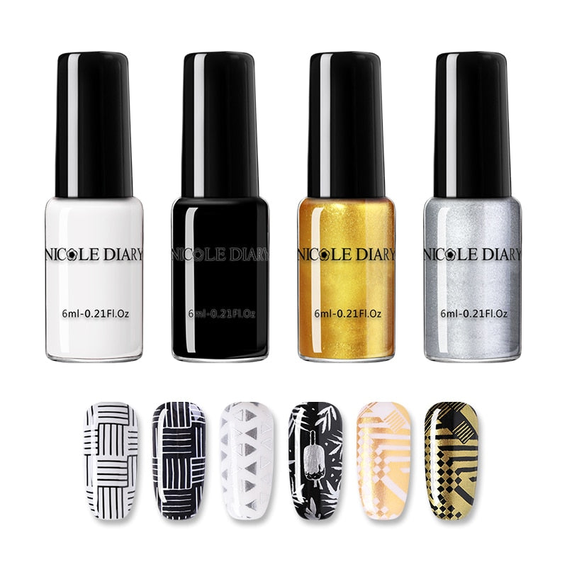 NICOLE DIARY Nail Art Stamping Polish Gold Silver Black White Nail Art Plate Printing Polish Varnish Nail Art Decoration - My Little Decors.com