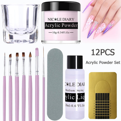 12Pcs/set Acrylic Powder Clear Extension Builder Crystal Nail Glitter Chrome 3D Nail Tips Carving Art Tools - My Little Decors.com