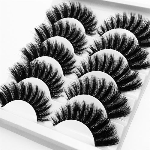 5 Pairs Mink Hair False Eyelashes Thick Curled Full Strip Handmade Lashes Eyelash Extension Tool Women Eyes Beauty Makeup - My Little Decors.com