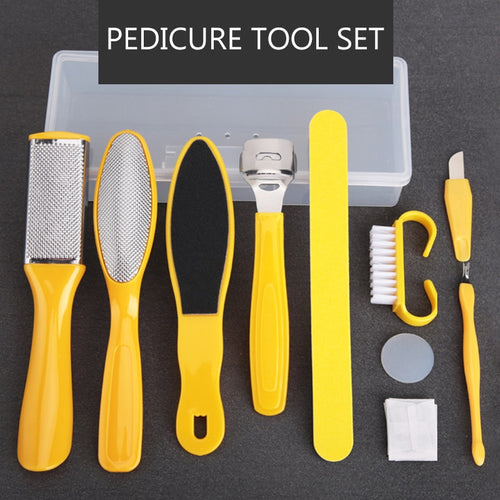 Professional 10pcs/set Pedicure Tool Foot Care File for Feet Heels Toe Cuticle Kit File Pedicure Set Beauty Pusher Remover Tool - My Little Decors.com