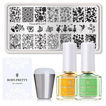 Load image into Gallery viewer, BORN PRETTY Nail Stamping Kit Stamp Nail Polish Geometry Lace Flower Pattern Nail Stamping Plates Stencil DIY Template 1 Set - My Little Decors.com