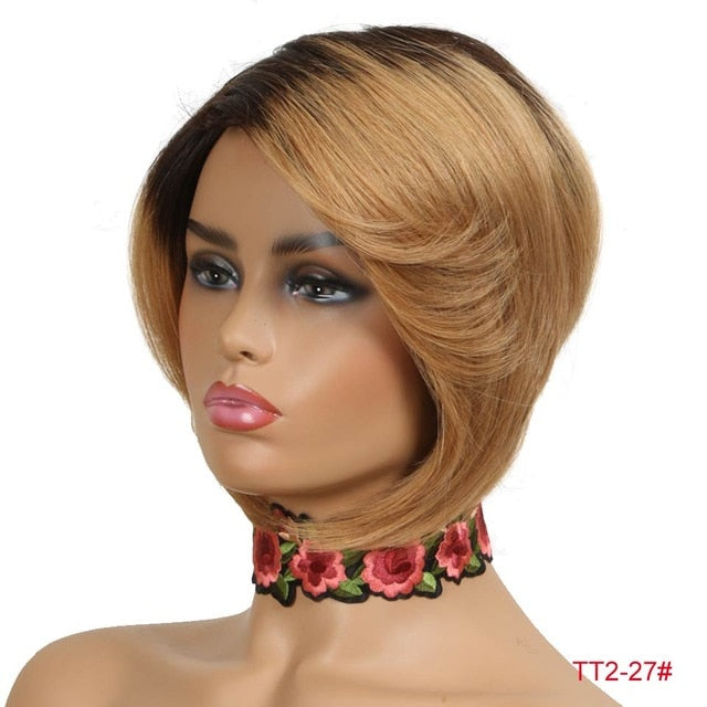 Rebecca Short Straight Hair Bob Wig Human Hair Wigs For Black Women Human Hair Full Wig Peruvian Remy Fashion Bob Wigs Red Blond - My Little Decors.com