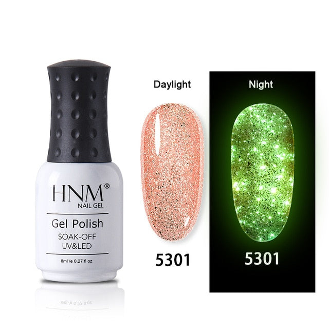 HNM Luminous Rose Gold Nail Gel Polish Night Glow In Dark Fluorescent Vernis Lacquer Soak Off Varnishes UV LED Semi Permanent - My Little Decors.com