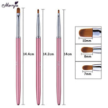 Load image into Gallery viewer, Monja 3Pcs/set Nail Art Acrylic UV Gel Extension Builder Rhinestone Painting Brush Lines Liner Pattern Drawing Pen Manicure Tool - My Little Decors.com