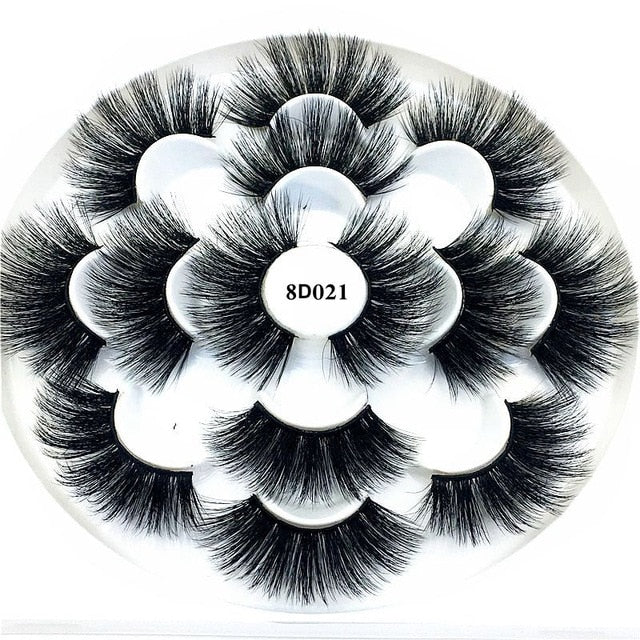 7/8 Pairs 3D Mink Hair False Eyelashes 25mm Long Lashes Extension Thick Wispy Fluffy Handmade Eye Makeup Tools Women Beauty Tools - My Little Decors.com