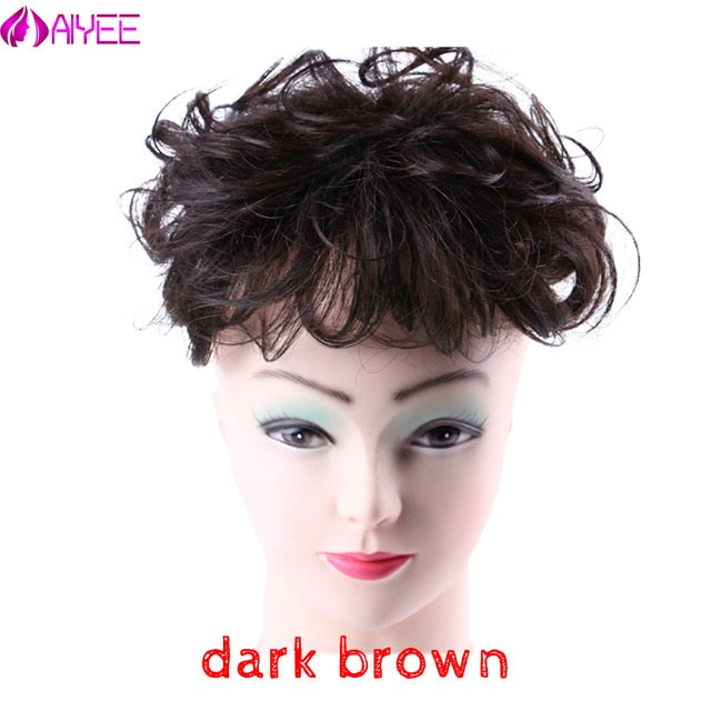 AIYEE 100%Human Hair Wig Curly Wave Toupee For Women Toupee Replacement Systems Remy Hair Wave Full Lace Women Toupee Hairpiece - My Little Decors.com