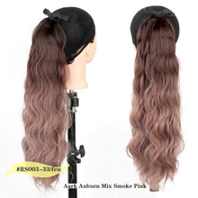 Load image into Gallery viewer, Pageup Synthetic Hair Long Wavy Ponytail Ombre Ponytail Lace up Hair Extension Type Black Blue Ponytails For Women - My Little Decors.com
