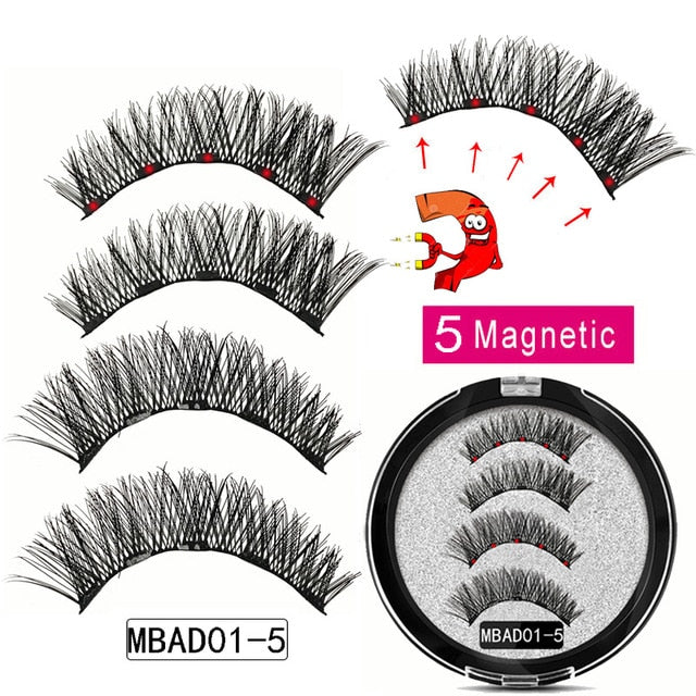 MB MEW 5 Magnets Magnetic Eyelashes With Handmade 3D False Eyelashes For Mink lashes New Faux Cils Magnetique Naturel Tweezers - My Little Decors.com