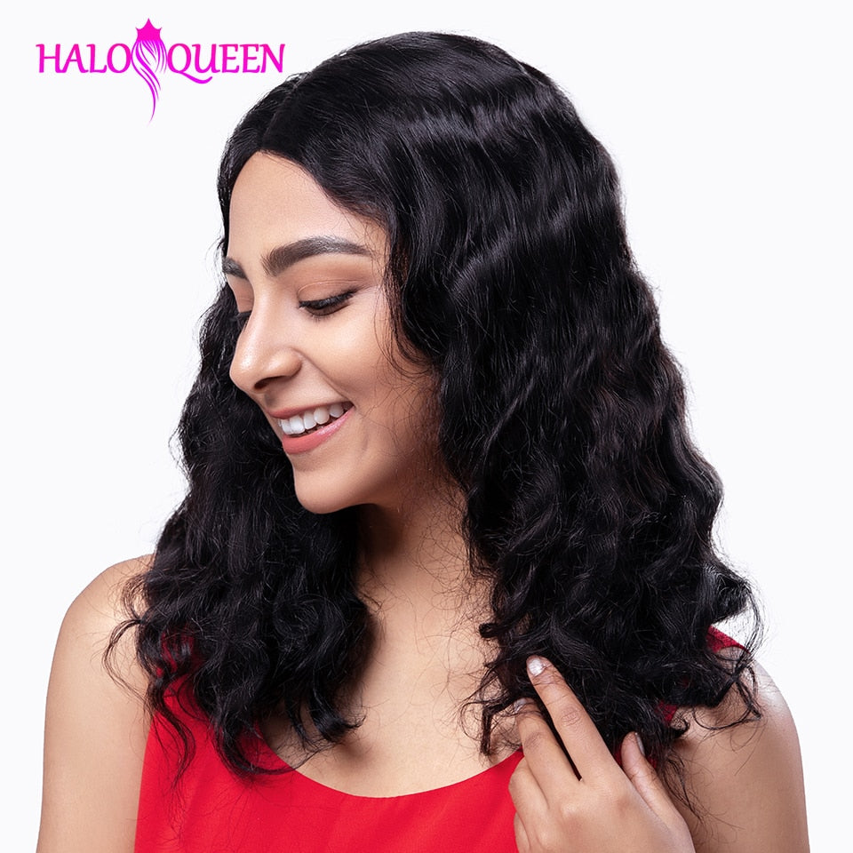 HALOQUEEN Body Wave Lace Front Human Hair Wigs Brazilian Remy Hair Mid-length Wigs Pre-Plucked Lace Closure 13X4 Frontal Wigs - My Little Decors.com