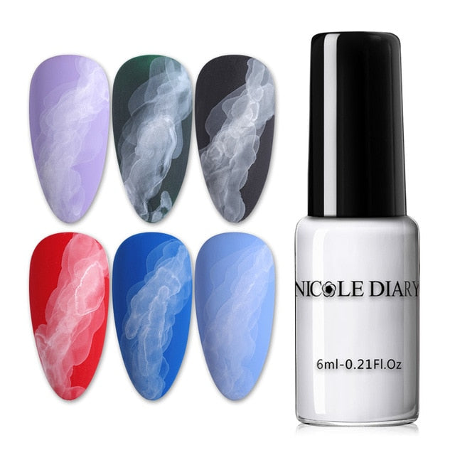 NICOLE DIARY 6ML Watercolor Nail Polish Blooming DIY Nail Gel Decoration Salon Smoke Effect Bubble Varnish Nails Accessories - My Little Decors.com