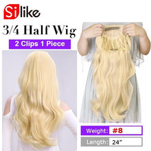 Load image into Gallery viewer, 24 Inch Body Wave 3/4 Half Wig Long Synthetic Hair Extensions Ombre Blonde Capless Wigs Hair Clips Extension For Women 210g - My Little Decors.com