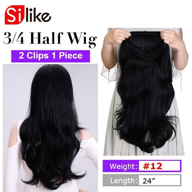 24 Inch Body Wave 3/4 Half Wig Long Synthetic Hair Extensions Ombre Blonde Capless Wigs Hair Clips Extension For Women 210g - My Little Decors.com