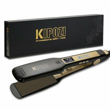 Load image into Gallery viewer, KIPOZI Professional Hair Straightener Titanium Flat Iron with Digital LCD Display Dual Voltage Instant Heating Curling Iron - My Little Decors.com