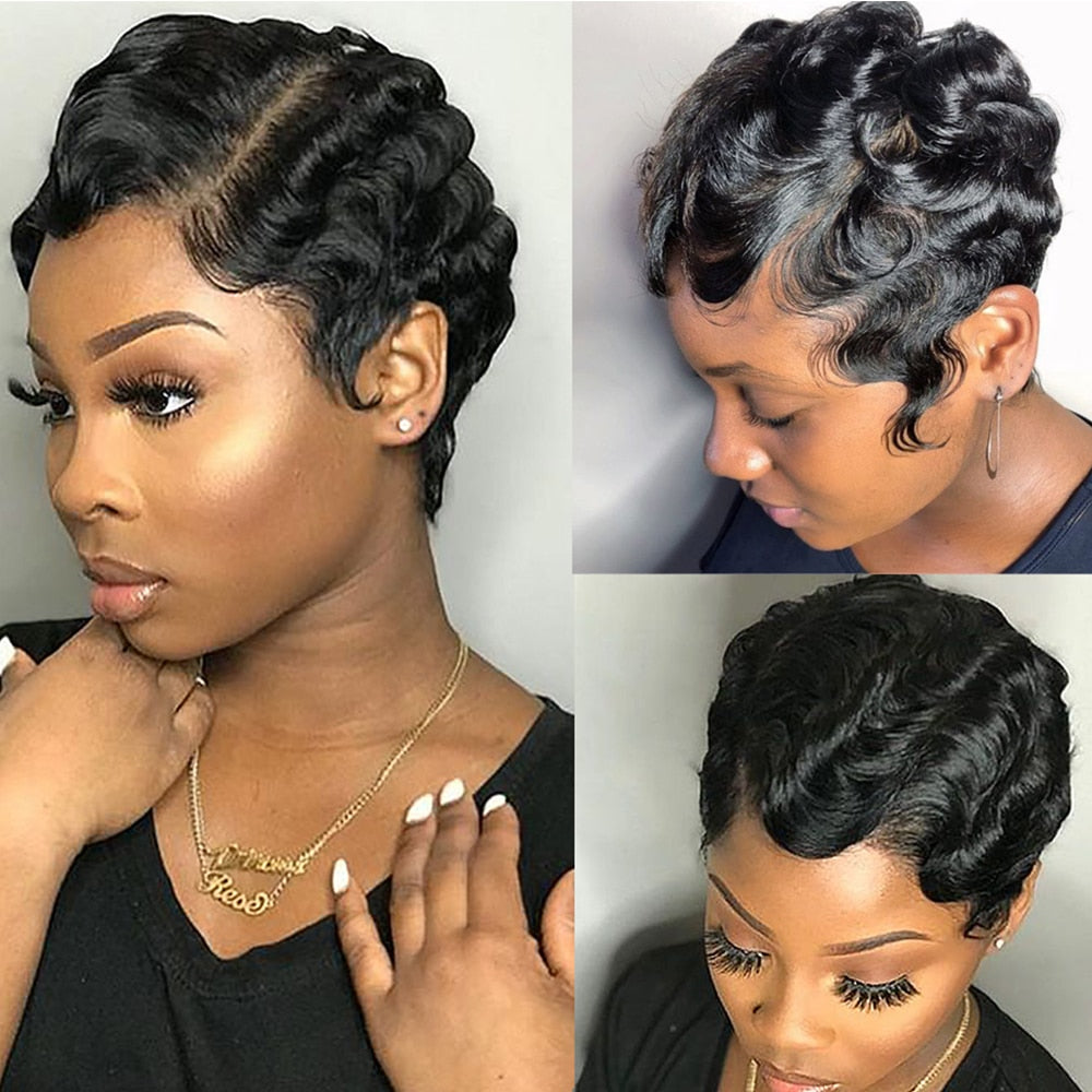 Short Finger Wave Wigs Short Bob Wigs For Woman Short Pixie Cut Wig Brazilian Human Hair Wigs Full Machine Natural Curls Wigs - My Little Decors.com
