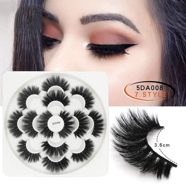 New 7 Pairs Fashion Natural Lengthening Professional Woman 5D Mink Soft Long Natural Thick Makeup Eye Lashes False Eyelashes - My Little Decors.com