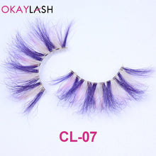 Load image into Gallery viewer, OKAYLASH 1pair/box real mink color 25mm long siberian eyelashes costume fancy ball dramatic unique colored red blue fake lashes - My Little Decors.com