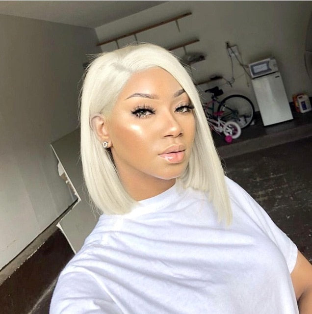 COLODO Platinum Blonde Lace Front Wig Pre Plucked Side Part Short Bob Wig Remy Hair Full Lace Human Hair Wigs for Black Women - My Little Decors.com