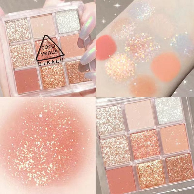 9 Colors Fashion Eyeshadow Palette Matte Makeup Eye Shadow Powder Metallic Diamond Glitter Eye Make Up Women Cosmetics TSLM2 - My Little Decors.com