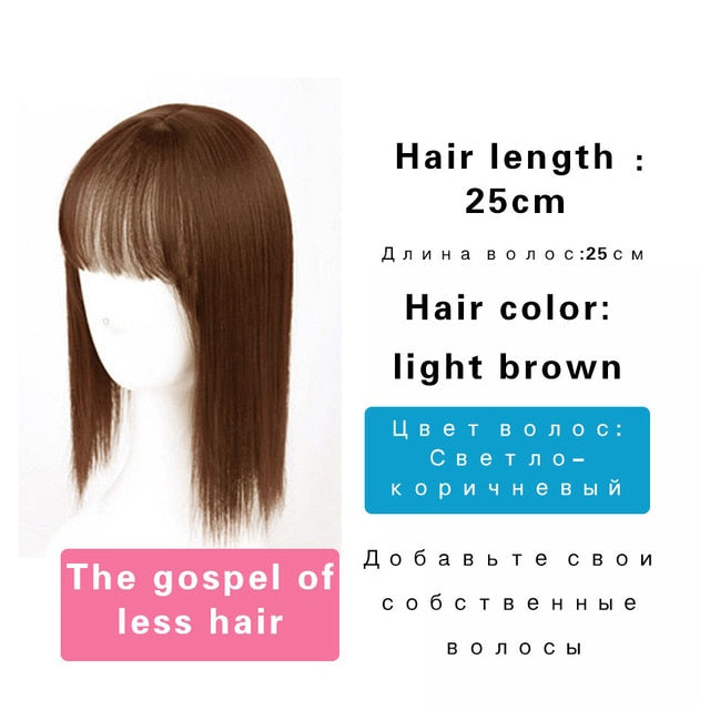 MUMUPI topper Women Natural bangs Long Straight Clip Closure Hair Extension High Temperature Synthetic Wig Clip Female Wig - My Little Decors.com