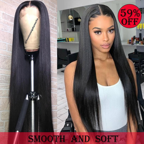 Melodie 28 30 Inch Straight Lace Front Wigs 180% Density Brazilian Human Hair For Black Women Pre Plucked 360 Lace Frontal Wig - My Little Decors.com