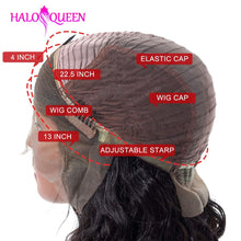 Load image into Gallery viewer, HALOQUEEN Body Wave Lace Front Human Hair Wigs Brazilian Remy Hair Mid-length Wigs Pre-Plucked Lace Closure 13X4 Frontal Wigs - My Little Decors.com
