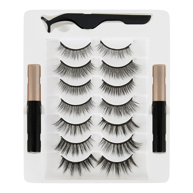 7pairs 3D Mink False Eyelash Magnetic Eyelashes Magnet Eyeliner Fake Eyelash Waterproof Liquid Long Lasting lash Makeup - My Little Decors.com