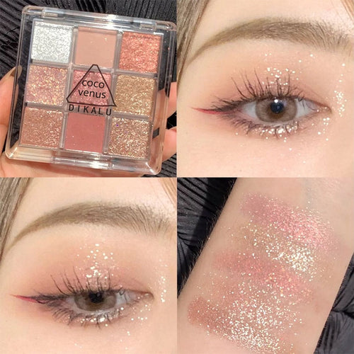 9 Colors Glitter Eyeshadow Palette Matte Shimmer Eye Shadow Tray Nude Lasting Silky Eyeshadow Powder Professional Eye Cosmetic - My Little Decors.com